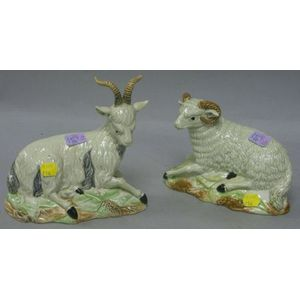 Mottahedeh Ceramic Sheep and Goat.