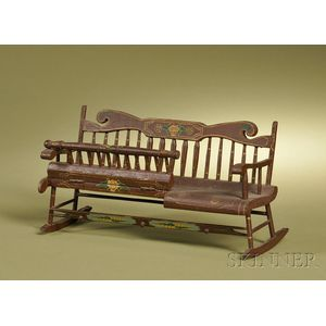 American Classical-style Stencil Decorated Miniature Nanny Bench