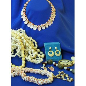 Group of Shell, Ivory and Coral Jewelry.