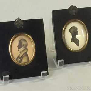 Two Framed Silhouettes with Gilt Highlights