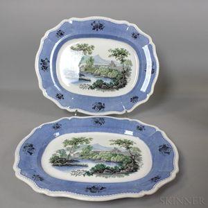 Pair of Davenport Transfer-decorated Ceramic Platters