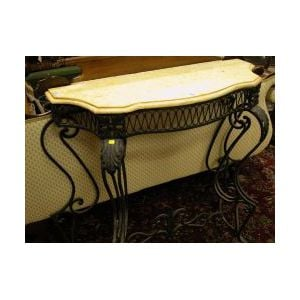 Marble-top Wrought Iron Console Table.