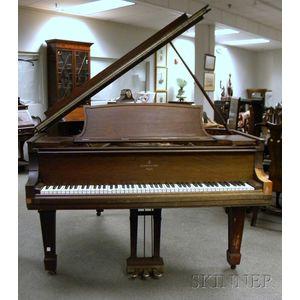 Steinway & Sons Mahogany and Mahogany Veneer Baby Grand Piano