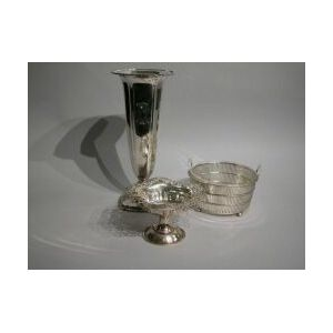 Sterling Silver Trumpet Vase, Candy Dish and Glass-lined Basket.