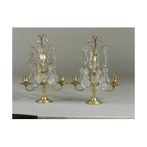 Pair of Baccarat Glass and Bronze Two Light Mantel Lustres
