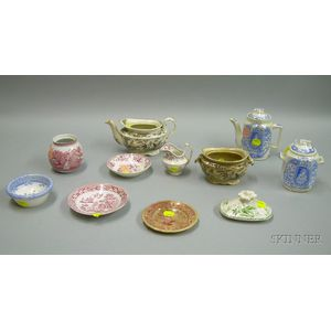 Eleven Miniature Transfer Decorated Staffordshire Tableware Articles