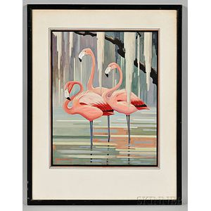 Peterson, Roger Tory (1908-1996) Gouache Painting of Flamingos, Signed.