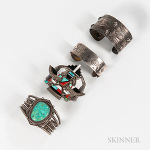 Four Navajo and Zuni Bracelets