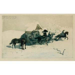 Adolf Jelinek Alex (Czechoslovakian, b. 1890)    Horsemen and Sleigh Before a Cottage.