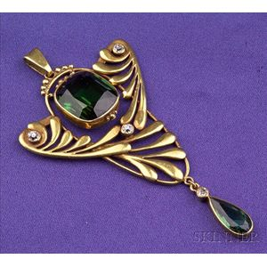 Arts & Crafts Green Tourmaline and Diamond Pendant, F.G. Hale