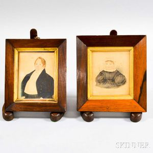Two Framed Watercolor Portrait Miniatures