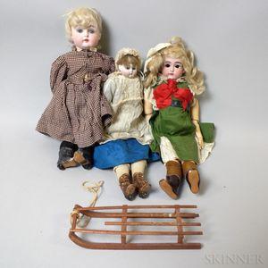 Three Bisque Head and Bisque Shoulder Head Dolls