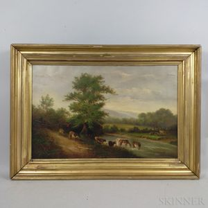American School, 19th Century      Landscape with Cattle Watering