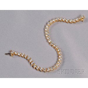 18kt Gold and Diamond Line Bracelet