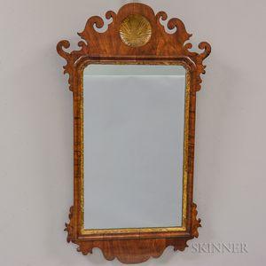 Queen Anne Shell-carved Walnut Scroll-frame Mirror