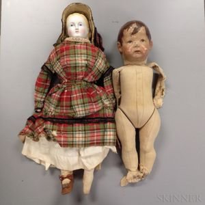 Kathe Kruse Doll and a Bisque Shoulder Head Doll
