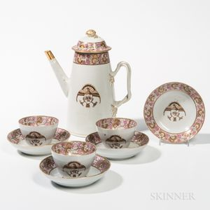 Eagle-decorated Export Porcelain Coffeepot, Cups, and Saucers