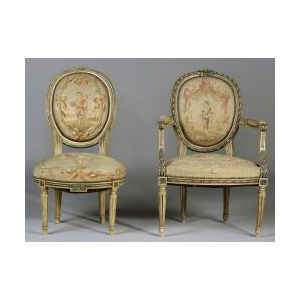 Louis XVI Style Needlepoint Upholstered and Painted Armchair and Matching Side Chair