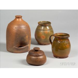 Two Pieces of Redware, a Norwalk Stoneware Chicken Waterer, and a Covered Treen Jar