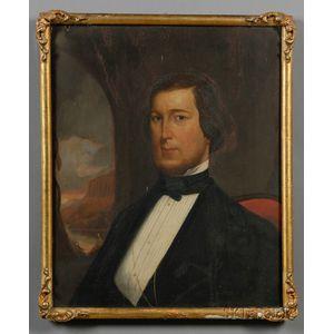 American School, 19th Century      Portrait of James Benjamin Hickox of Waterbury, Connecticut, (b. 1821- d.1870).