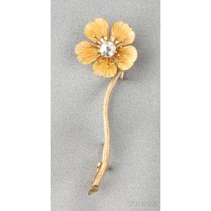Antique 18kt Gold, Enamel, and Diamond Flower Brooch, Tiffany & Co.