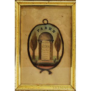Framed Fares Hairwork Family Record and Memorial