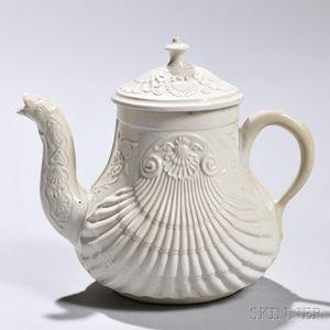 White Salt-glazed Stoneware Pecten Shell Teapot and cover
