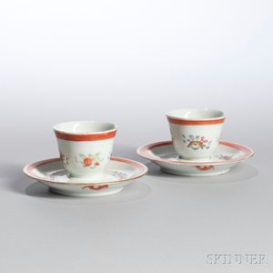 Near Pair of Famille Rose Cups and Saucers
