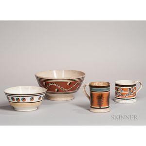 Four Mocha-decorated Ceramic Tableware Items