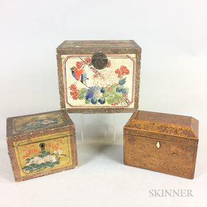 Two Chinese Paint-decorated Boxes and an Inlaid Burl Veneer Tea Caddy