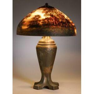 Handel Reverse Painted Landscape Table Lamp