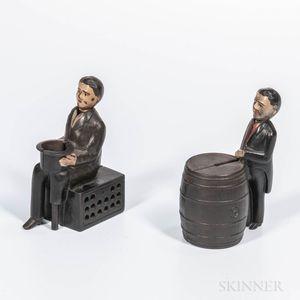 "Two Figural ""Man in Black Jacket"" Mechanical Banks"