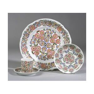 Sixty-five Piece Polish Hand Painted Porcelain Assembled Partial Dining Service.