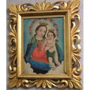 Framed Oil Retablo of the Madonna and Child.