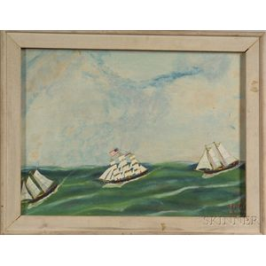 """Attributed to Jonathan Orne Johnson """"J.O.J."""" Frost (American, 1852 - 1928)    Clipper Ship and Grand Banks."""