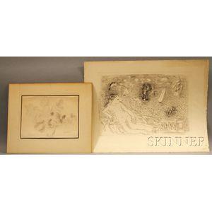 After Raoul Dufy (French, 1877-1953)      Two Works: Balcon sur la Mer (Baigneuse aux papillons et aux bateaux)