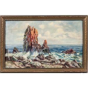 Theodore Victor Carl Valenkamph (Swedish/American, 1868-1924)      Crashing Surf