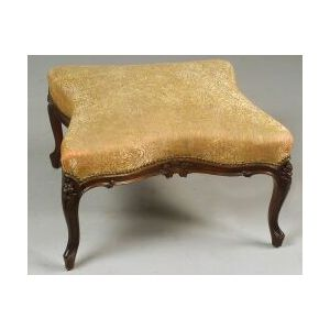 Louis XV Style Carved Walnut Ottoman and Low Armchair