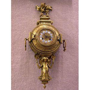 Continental Victorian Cast Brass Wall Clock.