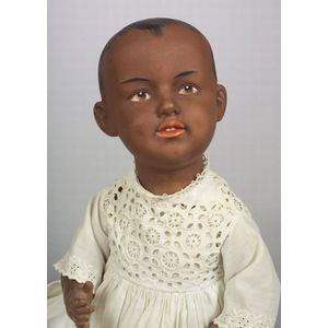 Unusual Gebruder Heubach 7620 Black Bisque Character Baby