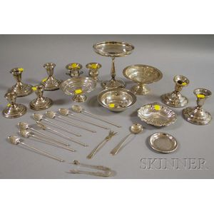 Group of Silver and Weighted Tableware and Serving Items
