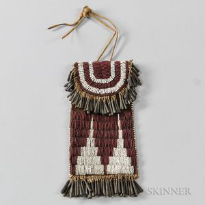 Early Kiowa Beaded Leather Strike-a-Light Pouch