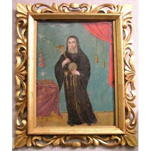 Framed Oil Retablo of Saint Rosa of Lima.