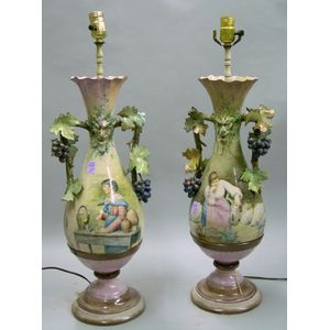 Pair of Italian Hand-painted Tin-glazed Table Lamps