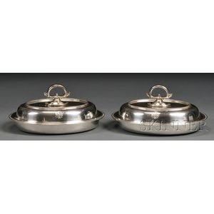Pair of Tiffany & Co. Sterling Convertible Covered Entree Dishes