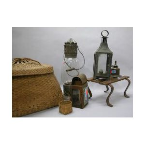 Slat and Wrought Iron Cricket, a Feather Basket and Four Pieces of Tin Lighting.