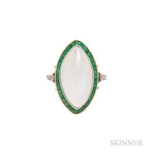 Platinum, Gold, Moonstone, and Emerald Ring