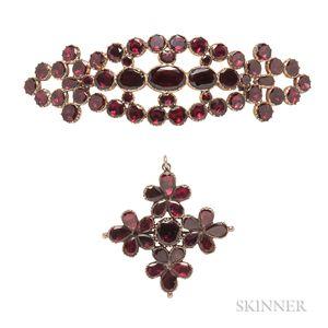 Two Georgian Gold and Garnet Jewelry Items