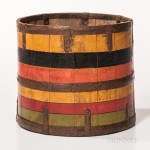 Polychrome Painted Wooden Bucket