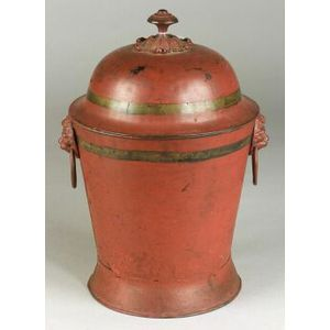 Red Painted Tole Urn